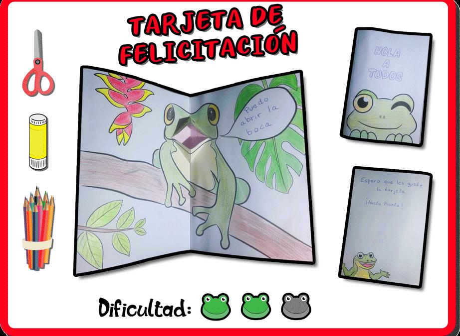 """Manualidad: tarjeta de felicitación """"ranas"""""""